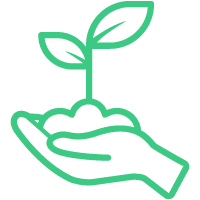 Icon of open palm hand holding growing plant